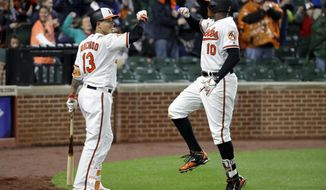 Baltimore Orioles' Manny Machado, left, greets teammate Adam Jones after Jones hit a two-run home run in the seventh inning of a baseball game against the Tampa Bay Rays in Baltimore, Monday, April 24, 2017. (AP Photo/Patrick Semansky)