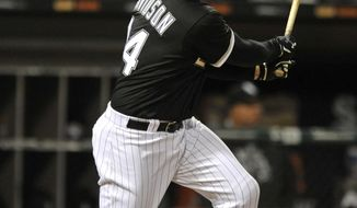 Chicago White Sox's Matt Davidson watches his 2 RBI single during the sixth inning of a baseball game against the Kansas City Royals, Monday, April 24, 2017, in Chicago. (AP Photo/Paul Beaty)