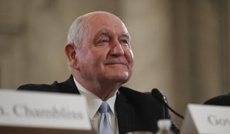 Agriculture Secretary-designate, former Georgia Gov. Sonny Perdue arrives to testify on Capitol Hill in Washington to testify at his confirmation hearing before the Senate Agriculture, Nutrition and Forestry Committee, in this March 23, 2017, file photo. After months of delays, the Senate is expected to confirm Agriculture Secretary nominee Sonny Perdue on Monday, April 24, 2017, with bipartisan support. (AP Photo/Pablo Martinez Monsivais, File)