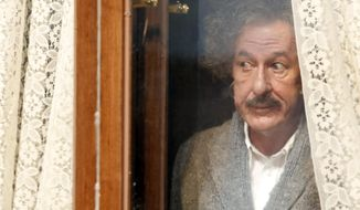 """In this image released by National Geographic, Geoffrey Rush portrays Albert Einstein in the National Geographic miniseries, """"Genius,"""" premiering April 25, 2017. (Dusan Martincek/National Geographic via AP)"""