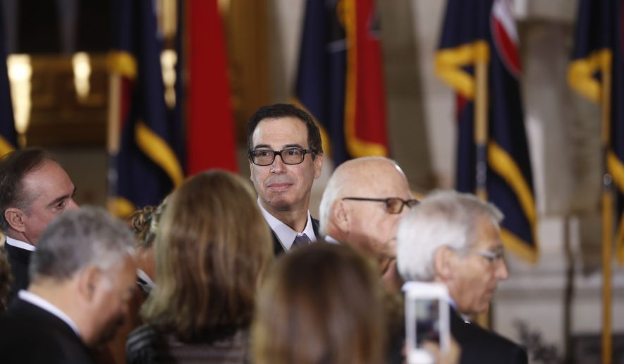 Treasury Secretary Steve Mnuchin arrives on Capitol Hill in Washington, Tuesday, April 25, 2017,  for the United States Holocaust Memorial Museum's National Days of Remembrance ceremony. (AP Photo/Pablo Martinez Monsivais)