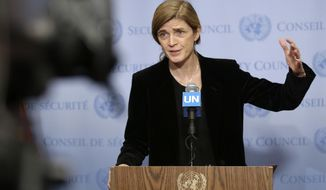 """FILE - In this Monday, Dec. 19, 2016, file photo, United States Ambassador to the United Nations Samantha Power speaks to reporters after a Security Council meeting at U.N. headquarters. Power is writing a memoir about her transition from Pulitzer Prize-winning critic of foreign policy to a leading government official. Dey Street Books, an imprint of HarperCollins Publishing, told The Associated Press on Tuesday, April 25, 2017, that it had acquired Power's """"The Education of an Idealist."""" (AP Photo/Seth Wenig, File)"""