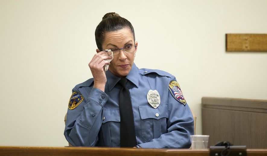 "DRPA Officer Connie Nicholson, the officer who, along with a K9 named Kauen, found the body of three-year-old Brendan Creato, testifies during the trial of David ""D.J."" Creato Jr. at the Camden County Courthouse, Tuesday, April 25, 2017, in Camden, N.J. Creato is charged with killing his son Brendan. (Jessica Griffin /The Philadelphia Inquirer via AP)"