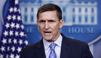FILE - In this Feb. 1, 2017 file photo, then-National Security Adviser Michael Flynn speaks during the daily news briefing at the White House, in Washington. The White House is refusing to provide lawmakers with information and documents related to President Donald Trump's first national security adviser's security clearance and payments from organizations tied to the Russian and Turkish governments. (AP Photo/Carolyn Kaster)