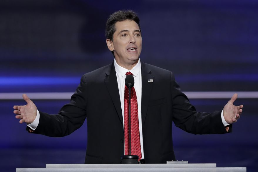 Actor Scott Baio speaks during the opening day of the Republican National Convention in Cleveland, July 18, 2016. (AP Photo/J. Scott Applewhite)