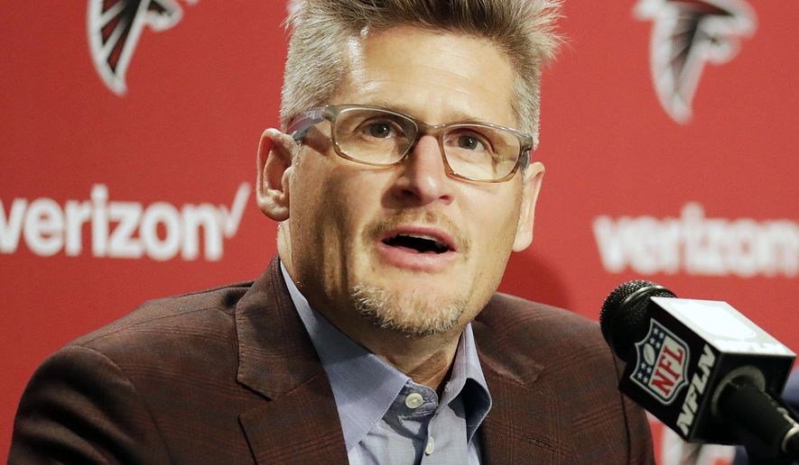 FILE - In this April 29, 2016, file photo, Atlanta Falcons general manager Thomas Dimitroff speaks at a news conference in Flowery Branch, Ga. Dimitroff has a history of being an active trader during the NFL draft, and he says he'll have all options open from the No. 31 spot in the first round on Thursday night _ the team's reward for playing in the Super Bowl. (AP Photo/David Goldman, File)