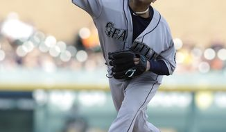 Seattle Mariners starting pitcher Felix Hernandez throws during the first inning of a baseball game against the Detroit Tigers, Tuesday, April 25,2017, in Detroit. (AP Photo/Carlos Osorio)