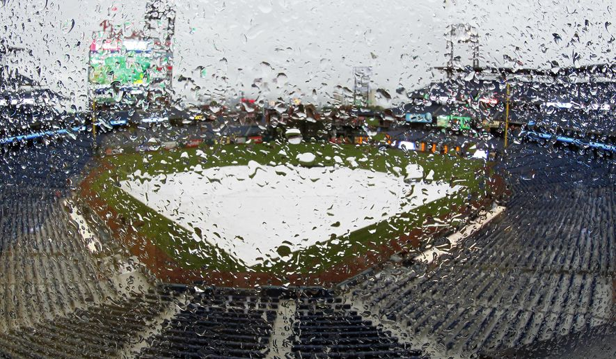 Rain drops cover the glass in the stands of Citizens Bank Park where the Philadelphia Phillies baseball game against the Florida Marlins was postponed due to bad weather, Tuesday, April 25, 2017, in Philadelphia. (AP Photo/Tom Mihalek)