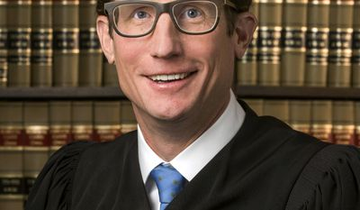 This undated photo provided by the Jackson County Circuit Court shows Jackson County Circuit Judge W. Brent Powell, who was appointed Tuesday, April 25, 2017, to the Missouri Supreme Court by Missouri Gov. Eric Greitens. He is replacing former Judge Richard Teitelman, who died in November. (Mark McDonald/Jackson County Circuit Court via AP)