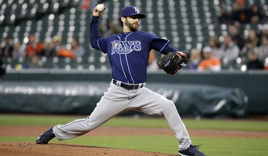 Tampa Bay Rays starting pitcher Austin Pruitt throws to the Baltimore Orioles during the first inning of a baseball game in Baltimore, Tuesday, April 25, 2017. (AP Photo/Patrick Semansky)
