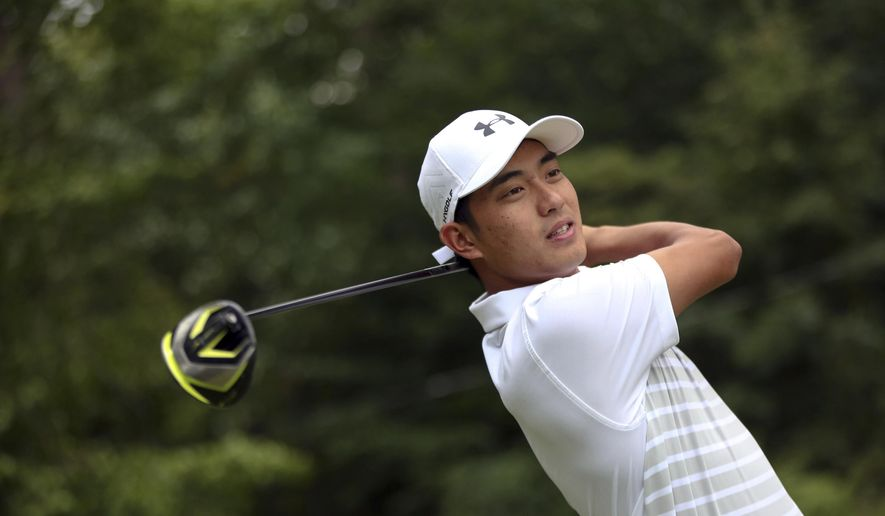 This Sept. 6, 2016, photo provided by Seton Hall University shows Lloyd Jefferson Go at the Fiddler's Elbow Country Club in Bedminster, N.J. Go came all the way from the Philippines four years ago to play golf at Seton Hall in South Orange, N.J. He will to trying to wrap up his conference career by winning a second straight Big East individual title this weekend. (Gabe Rhodes/Seton Hall University via AP)