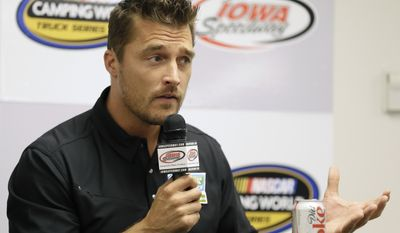 """FILE - In this June 19, 2015, file photo, Iowa farmer Chris Soules, a former star of ABC's """"The Bachelor,"""" speaks during a news conference before a NASCAR event in Newton, Iowa. Soules was booked early Tuesday, April 25, 2017, after his arrest on a charge of leaving the scene of a fatal accident near Arlington, Iowa. Police said he fled the scene of a fatal traffic accident. (AP Photo/Charlie Neibergall, File)"""