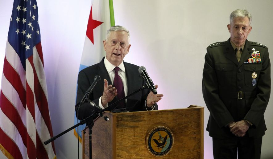 U.S. Defense Secretary James Mattis, left, and U.S. Marine Corps General Thomas Waldhauser at Camp Lemonnier in Ambouli, Djibouti, Sunday April 23, 2017.   Mattis on Sunday visited Djibouti to bolster ties with the tiny and impoverished African country that is home to an important base for U.S. counterterrorism forces, including drones. (Jonathan Ernst/Pool via AP)