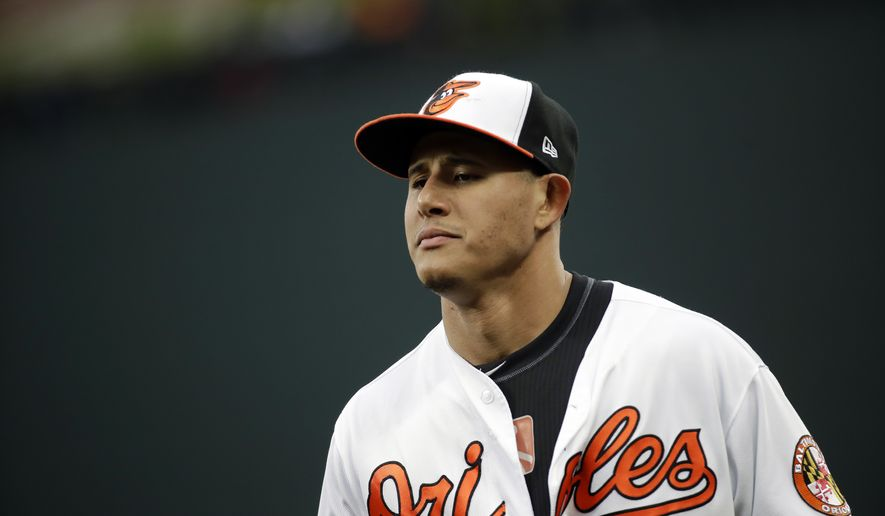 Baltimore Orioles third baseman Manny Machado walks on the field before a baseball game against the Tampa Bay Rays in Baltimore, Tuesday, April 25, 2017. (AP Photo/Patrick Semansky)
