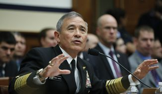 U.S. Pacific Command Commander Adm. Harry Harris Jr. testifies on Capitol in Washington, Wednesday, April 26, 2017, before a House Armed Services Committee hearing on North Korea. (AP Photo/Manuel Balce Ceneta)