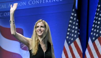 In this Feb. 12, 2011, file photo, Ann Coulter waves to the audience after speaking at the Conservative Political Action Conference (CPAC) in Washington. The University of California, Berkeley says it's preparing for possible violence on campus whether Coulter comes to speak or not. (AP Photo/Cliff Owen, File)