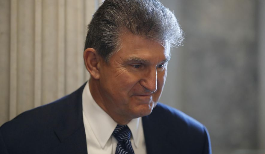 Sen. Joe Manchin, D-W. Va. listens to a reporter's question before a policy luncheon on Capitol Hill in Washington, Tuesday, April 25, 2017. (AP Photo/Alex Brandon)