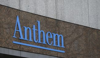 FILE - This Wednesday, Dec. 3, 2014, file photo shows the Anthem logo at the company's corporate headquarters in Indianapolis. Anthem's first-quarter earnings soared past Wall Street forecasts, and the health insurer raised its 2017 forecast after jumping deeper into government-funded business and cutting costs. (AP Photo/Darron Cummings, File)