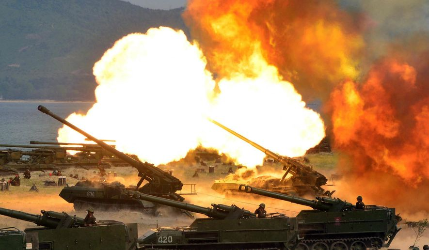 "This photo distributed on Wednesday, April 26, 2017, by the North Korean government, shows what was said to be a ""Combined Fire Demonstration"" held to celebrate the 85th anniversary of the North Korean army, in North Korea. Independent journalists were not given access to cover the event depicted in this image distributed by the Korean Central News Agency via Korea News Service. (Korean Central News Agency/Korea News Service via AP)"