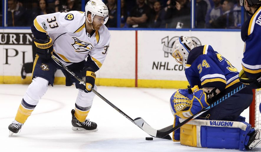 Nashville Predators' Colin Wilson, left, reaches for the puck as St. Louis Blues goalie Jake Allen defends during the first period in Game 1 of an NHL hockey second-round playoff series, Wednesday, April 26, 2017, in St. Louis. (AP Photo/Jeff Roberson)