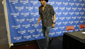 Oklahoma City Thunder's Russell Westbrook leaves the interview room after Game 5 of the team's NBA basketball first-round playoff series against the Houston Rockets, Tuesday, April 25, 2017, in Houston. The Rockets won 105-99 and took the series. (AP Photo/David J. Phillip)