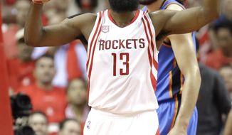 Houston Rockets' James Harden (13) reacts after a turnover during the first half in Game 5 of the team's NBA basketball first-round playoff series against the Oklahoma City Thunder, Tuesday, April 25, 2017, in Houston. (AP Photo/David J. Phillip)