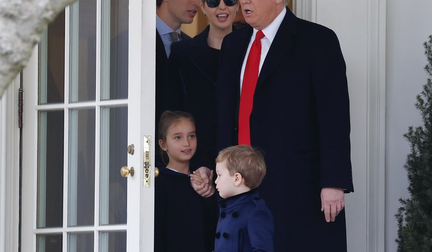 FILE - In this March 3, 2017, file photo, President Donald Trump and his family, daughter Ivanka Trump, her husband senior adviser Jared Kushner and their children Arabella Kushner and Joseph Kushner walk out of the Oval Office of the White House in Washington. Not since John F. Kennedy appointed his brother Bobby to be attorney general and his brother-in-law to head the Peace Corps has a president leaned as heavily on his family as has Donald Trump. (AP Photo/Pablo Martinez Monsivais, File)