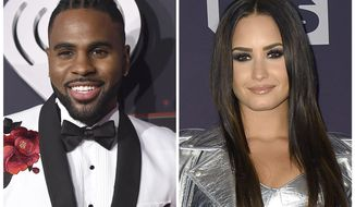 """FILE - In this combination photo, Jason Derulo, left, and Demi Lovato appear at the iHeartRadio Music Awards on March 5, 2017, in Inglewood, Calif. YouTube is launching a new music competition series for emerging artists featuring Derulo, Lovato and The Backstreet Boys. Ryan Seacrest Productions and Endemol Shine North America announced Wednesday that """"Best.Cover.Ever"""" will debut on YouTube later this year. (Photos by Jordan Strauss/Invision/AP, File)"""