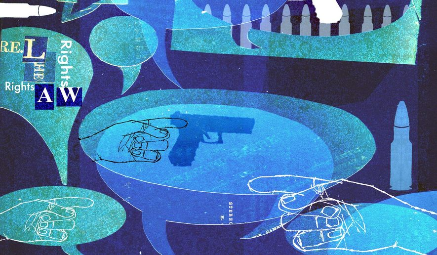 Illustration on gun control debate by Donna Grethen/Tribune Content Agency