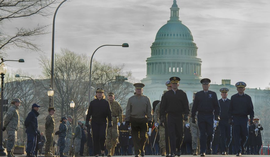 Maj. Gen. Darryl W. Burke, Commander, Air Force District of Washington, and the other service component District of Washington commanders march in the inaugural parade dress rehearsal in Washington, D.C., Jan. 15, 2017. (U.S. Air Force photo by Airman 1st Class Valentina Lopez)