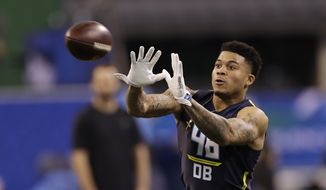 Florida defensive back Jalen Tabor runs a drill at the NFL football scouting combine Monday, March 6, 2017, in Indianapolis. (AP Photo/David J. Phillip)
