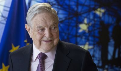 George Soros, founder and chairman of the Open Society Foundation, waits for the start of a meeting at EU headquarters in Brussels on Thursday, April 27, 2017. (Olivier Hoslet, Pool Photo via AP) ** FILE **