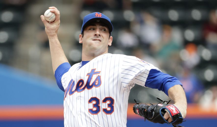 New York Mets' Matt Harvey (33) delivers a pitch during the first inning of a baseball game against the Atlanta Braves Thursday, April 27, 2017, in New York. (AP Photo/Frank Franklin II)