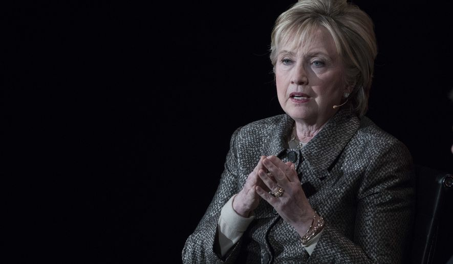 In this photo taken April 6, 2017, former Secretary of State Hillary Clinton speaks in New York. A congressional committee on Thursday, April 27, 2017, asked the Justice Department to consider criminally prosecuting a technology services company that was involved in maintaining a private email server for Hillary Clinton. (AP Photo/Mary Altaffer)