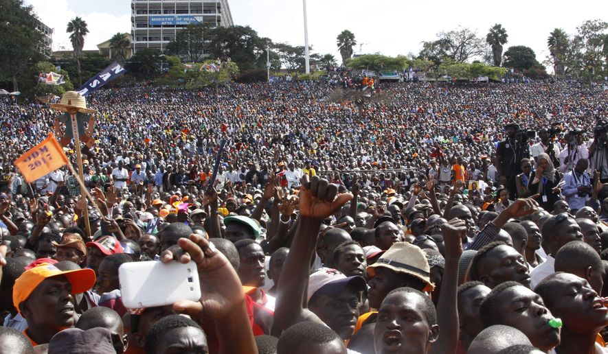 The National Super Alliance was announced at a rally in Nairobi, Kenya, last month, with former Prime Minister Raila Odinga challenging President Uhuru Kenyatta in August elections. (Associated Press)