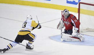 Pittsburgh Penguins center Nick Bonino (13) shoots the puck for a goal against Washington Capitals goalie Braden Holtby during the third period of Game 1 in an NHL hockey Stanley Cup second-round playoff series, Thursday, April 27, 2017, in Washington. The Penguins won 3-2. (AP Photo/Nick Wass)