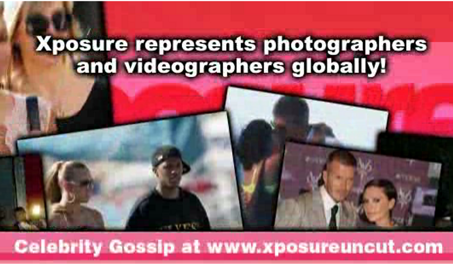Promotional graphic for Xposure Photos, a British photographer agency that specializes in selling and licensing snapped photos of celebrities. Xposure is suing reality TV celebrity Khloe Kardashian for copyright infringement after she posted a photo of theirs to her Instagram account without permission.
