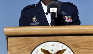 FILE - In this Thursday, Oct. 3, 2013, file photo, U.S. Air Force Academy Superintendent Lt. Gen. Michelle Johnson speaks with members of the media about the effects of the government shutdown during a news conference at the academy at Air Force Academy, Colo. On Thursday, April 27, 2017, Johnson, the first woman to lead the academy, announced that she will retire in 2017. (AP Photo/Brennan Linsley, File)