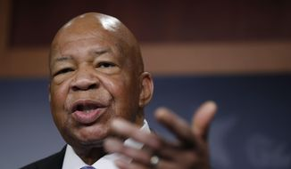 Rep. Elijah Cummings, D-Md., ranking member on the House Oversight Committee, speaks to reporters during a news conference on Capitol Hill in Washington, Thursday, April 27, 2017. (AP Photo/Manuel Balce Ceneta) ** FILE **
