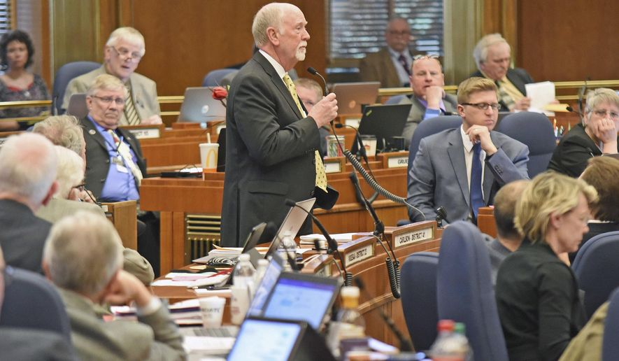 House majority leader Rep. Al Carlson (R-Fargo) outlines how he expects the final hours of the 65th legislative session to go at the end of the floor session Thursday afternoon, April 27, 2017, in Bismarck, N.D. (Tom Stromme/The Bismarck Tribune via AP)
