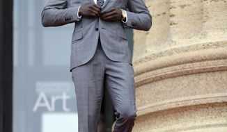 LSU's Tre'Davious White arrives for the first round of the 2017 NFL football draft, Thursday, April 27, 2017, in Philadelphia. (AP Photo/Julio Cortez)