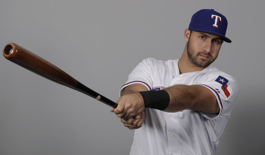FILe - This is a 2017 file photo showing Joey Gallo of the Texas Rangers baseball team. The young Rangers slugger has played every game with third baseman Adrian Beltre injured, and showing that he's more than just a big bopper.  (AP Photo/Charlie Riedel, FIle)
