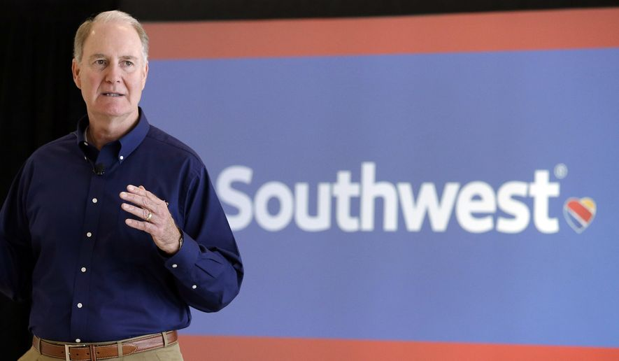 FILE - In this Thursday, Oct. 8, 2015, file photo, Southwest Airlines CEO Gary Kelly speaks during a preview of the new international concourse at Houston Hobby Airport in Houston. Southwest Airlines says it plans to stop overbooking flights, an industry practice implicated in an ugly incident on a United Express flight that has damaged United's reputation with the flying public. In 2016, Southwest bumped 15,000 passengers off flights, more than any other U.S. airline. (AP Photo/Pat Sullivan, File)