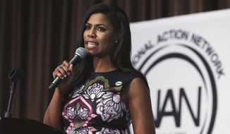 "Omarosa Manigault, political aide and communications director for the Office of Public Liaison at the White House under President Donald Trump's administration, speaks at the Women's Power Luncheon of the 2017 National Action Network convention, in New York, Thursday, April 27, 2017. Manigault was a contestant on Trump's reality competition series, ""The Apprentice."" (AP Photo/Richard Drew)"