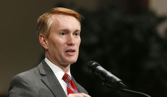 Sen. James Lankford, R-Okla., speaks to the new Oklahoma Highway Patrol Officers during their graduation ceremony in Edmond, Okla., in this June 17, 2016, file photo. (AP Photo/Sue Ogrocki, File) ** FILE **
