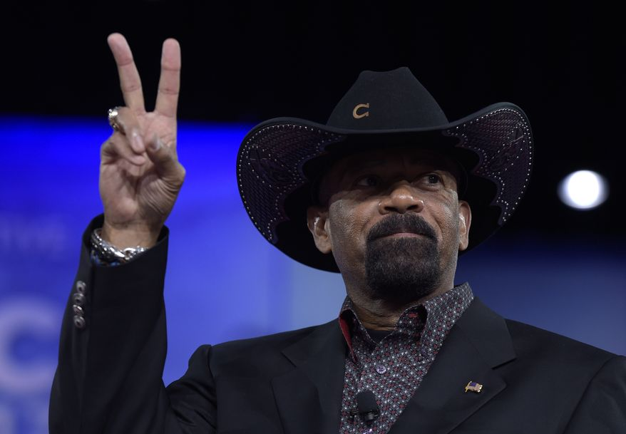 Milwaukee County Sheriff David Clarke gestures as he speaks at the Conservative Political Action Conference (CPAC) in Oxon Hill, Md., Thursday, Feb. 23, 2017. (AP Photo/Susan Walsh)
