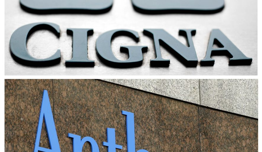 This combo of file photos shows signage for health insurers Cigna Corp., and Anthem Inc.  A federal appeals court on Friday, April 28, 2017, left in place a decision blocking Blue Cross-Blue Shield insurer Anthem's bid to buy rival Cigna, saying that a bigger company is not better for consumers.The 2-1 decision upholds a federal judge's ruling in February that said the proposed $48 billion acquisition would reduce competition in the concentrated insurance market. (AP Photo/File)