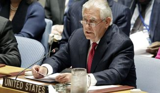 U.S. Secretary of State Rex Tillerson addresses the Security Council at United Nations headquarters, Friday, April 28, 2017.  Turning to diplomacy after flexing military muscle, the United States urged the U.N. Security Council on Friday to increase economic pressure on North Korea over its nuclear weapons program, leaning on China in particular to turn the screws on its wayward ally.  (AP Photo/Richard Drew)