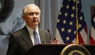 U.S. Attorney General Jeff Sessions speaks to members of law enforcement Friday, April 28, 2017, in Central Islip, N.Y.   Sessions discussed the violent street gang that's gripping the suburban area.  (AP Photo/Frank Franklin II) ** FILE **