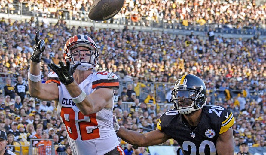 FILE - In this Nov. 15, 2015, file photo, Cleveland Browns tight end Gary Barnidge (82) makes a touchdown catch past Pittsburgh Steelers strong safety Will Allen (20) in the second half of an NFL football game, in Pittsburgh. The Browns have released veteran tight end Gary Barnidge, one of their most productive players the past four years.(AP Photo/Don Wright, File)